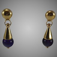 Large 14K Yellow Gold Pierced Clip Earrings with Amethyst Ball