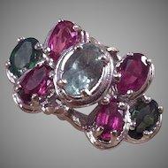 14K White Gold Pink & Green Tourmaline Ring