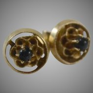 14K Yellow Gold Flower Stud Earrings with Black Onyx Ball