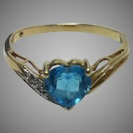 10K Gold Heart Shaped Blue Topaz Ring with Diamonds