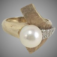 Modern 14K Gold Diamond & Pearl Cocktail Ring