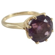 Amethyst Solitaire Ring set in 14K Yellow Gold