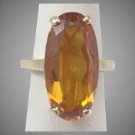 14K YG Synthetic Orange Sapphire Ring Sz 4.5