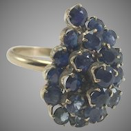 10K Blue Sapphire Cluster Ring Size 7.5