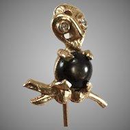 14K YG Black Star Sapphire & Diamond Owl Stick/Hat Pin