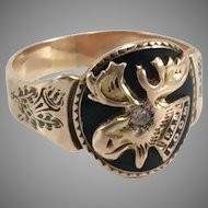10K Gold LOOM Ring with Diamond Eye Size 9