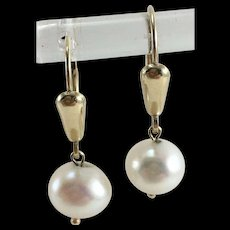 14K Cultured Pearl Lever Back Drop  Earrings