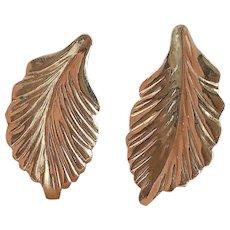 14K Yellow Gold Leaf Earrings