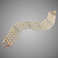 14K YG 6.5mm Akoya Pearl 4 Strand Bracelet