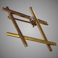 14K Yellow Gold Mid Century Modern Geometric Pin/Brooch with Diamond