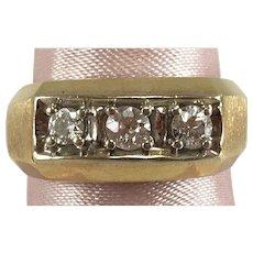 Men's Lady's 14K YG 3 Stone Diamond Band 0.43 Ct TW Sz 9