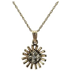 14K YG Starburst Necklace w/ Diamond