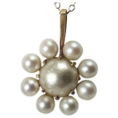 Swedish 18K Cultured Pearl Pendant