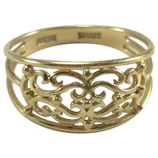 14K YG Filigree Ring Sz 9.5