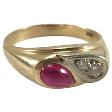 14K YG Synthetic Ruby & Diamond Ring Sz 11