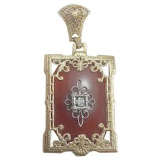 14K YG Carnelian & Diamond Filigree Pendant