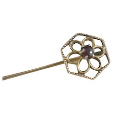 10K YG Victorian Flower Hat/Stick Pin with Garnet