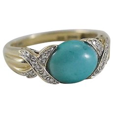 14K YG Turquoise & Diamond Ring Sz 9 1/2