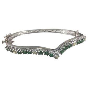 14K White Gold Hinged Bangle Bracelet w/ Emeralds & Diamonds