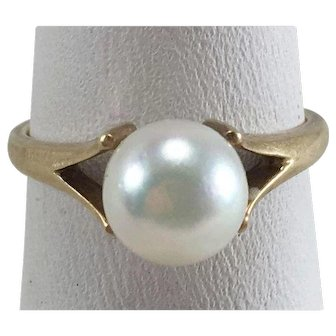 Mikimoto 14K YG 7mm Cultured Pearl Solitaire Ring Size 5