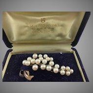 Mikimoto 10K Rose Gold Pearl Spray Pin/Brooch