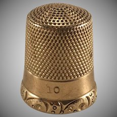 14K YG Simons Brothers Bros Embossed Thimble Size 10