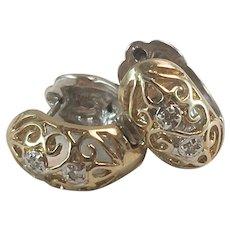 10K Yellow & White Gold Filigree Huggie Hoop Earrings w/ Diamonds