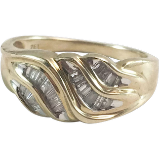10K YG Tiered Baguette Diamond Bypass Cocktail Ring Sz 6