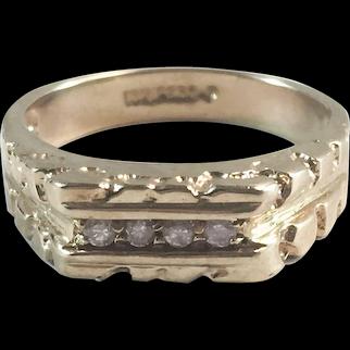 10K YG Textured Nugget Ring w/ 4 Diamonds Sz 6 1/2