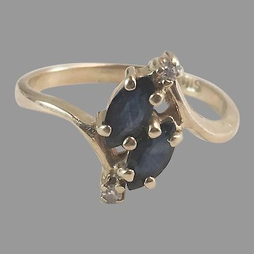 14K YG Double Marquise Sapphire Bypass ring w/ Diamonds Sz 5