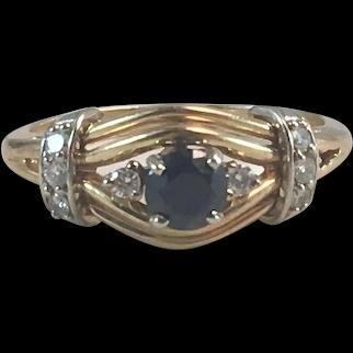 14K YG Sapphire & Diamond Ring Sz 6.5