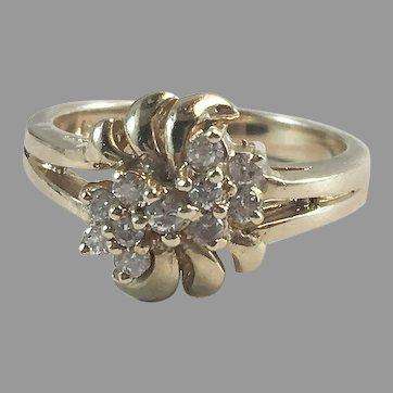 14K YG Diamond Cluster Cocktail Ring Sz 5 3/4