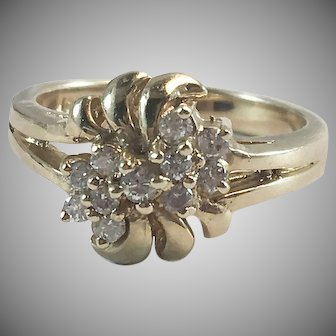 14K YG Diamond Cluster Cocktail Ring Sz 5 3/4
