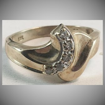 10K YG Diamond Bypass Ring Sz 7 1/4
