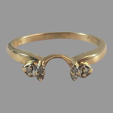 14K YG Diamond Wedding Band Enhancer Ring Wrap Sz 8