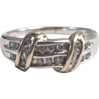10K White & Yellow Gold Channel Set Diamond Wedding Band Ring Sz 7.5
