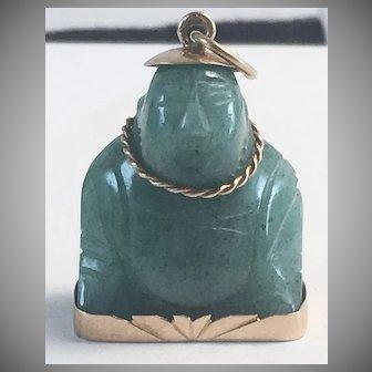 18K YG Green Jade Buddha Pendant/Charm