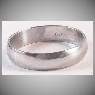 14K White Gold Plain & Simple Wedding Band Ring Sz 5 3/4