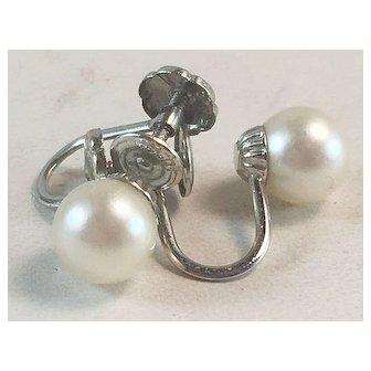 14K White Gold & 6mm Cultured Pearl Screw Back Earrings