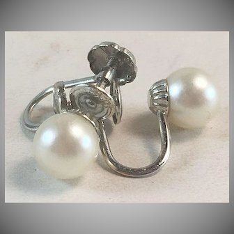 14K White Gold & 6mm Cultured Pearl Screw Back Clip On Earrings