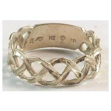 14K YG Braided Diamond Cut Wedding Band Ring Sz 5