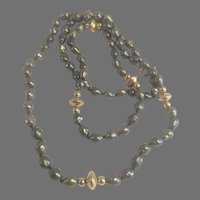 """Cultured Baroque Black Pearl 28"""" Necklace w/ 14K YG Clasp & Beads"""