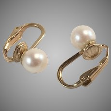 14Kt YG 7mm Cultured Pearl Clip On Earrings