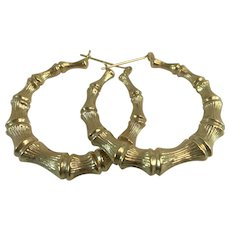 10K YG Large Faux Bamboo Hoop Earrings 5.3 Grams