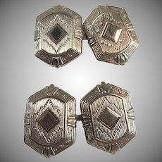 10K White Gold Art Deco Cufflinks