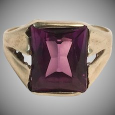 10K YG Man's or Lady's Purple Stone Ring Sz 5