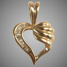 14K YG & 0.25cttw Baguette Diamond Open Heart Pendant