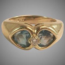 14K YG Heart Shaped Blue Topaz & Diamond Ring Sz 5.25