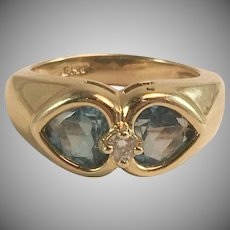 14K YG Heart Shaped Blue Topaz & Diamond Ring Sz 5.25