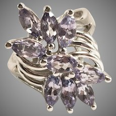 14K White Gold 2ct Tanzanite Cluster Cocktail Ring Sz 6